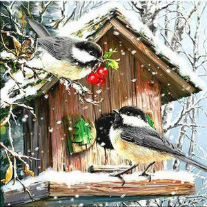 Full Drill - 5D DIY Diamond Painting Kits Winter Canvas Animal Cute Bird - NEEDLEWORK KITS