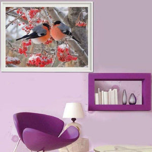 Full Drill - 5D DIY Diamond Painting Kits Winter Canvas Cute Bird - NEEDLEWORK KITS