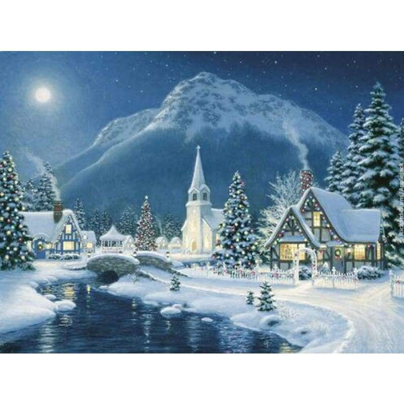 Full Drill - 5D DIY Diamond Painting Kits Winter Cartoon Landscape Snow - NEEDLEWORK KITS