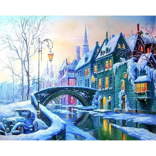 Full Drill - 5D DIY Diamond Painting Kits Winter Landscape Snow Castle - NEEDLEWORK KITS