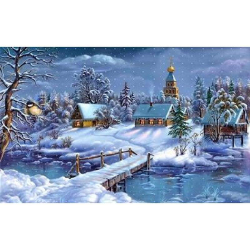 5D DIY Diamond Painting Kits Winter Landscape Snow Cottage - 5