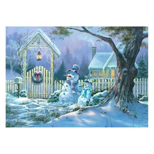 5D DIY Diamond Painting Kits Winter Snowman House - 4