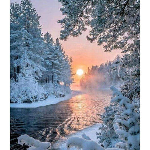 5D DIY Diamond Painting Kits Winter Tranquil Forest And Sunset Nature - 3