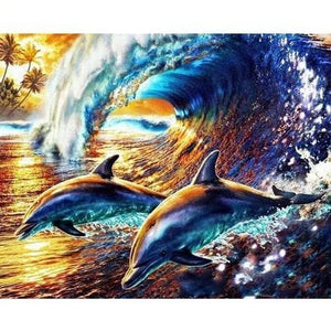 Dolphin Diy Paint By Numbers Kits VM30245 - NEEDLEWORK KITS