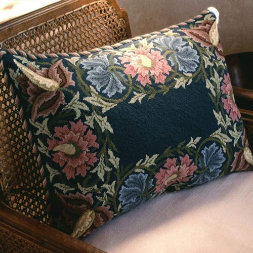 Flower Border (Blue Background) - Tapestry And Needlepoint