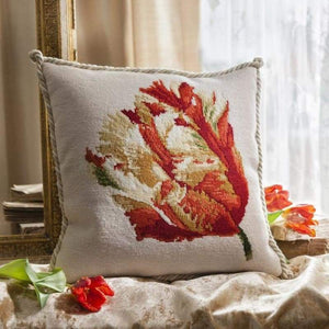 Parrot Tulip (Winter White Background) - Tapestry and Needlepoint Kits