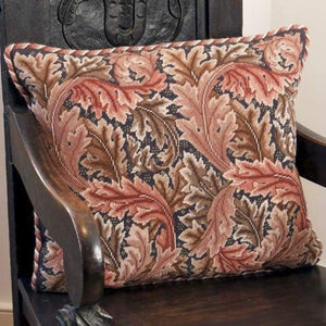 Acanthus Leaves (Red On Grey Background) - Tapestry And Needlepoint