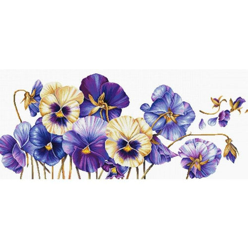 Purple Pansies - Stamped Cross Stitch Kits