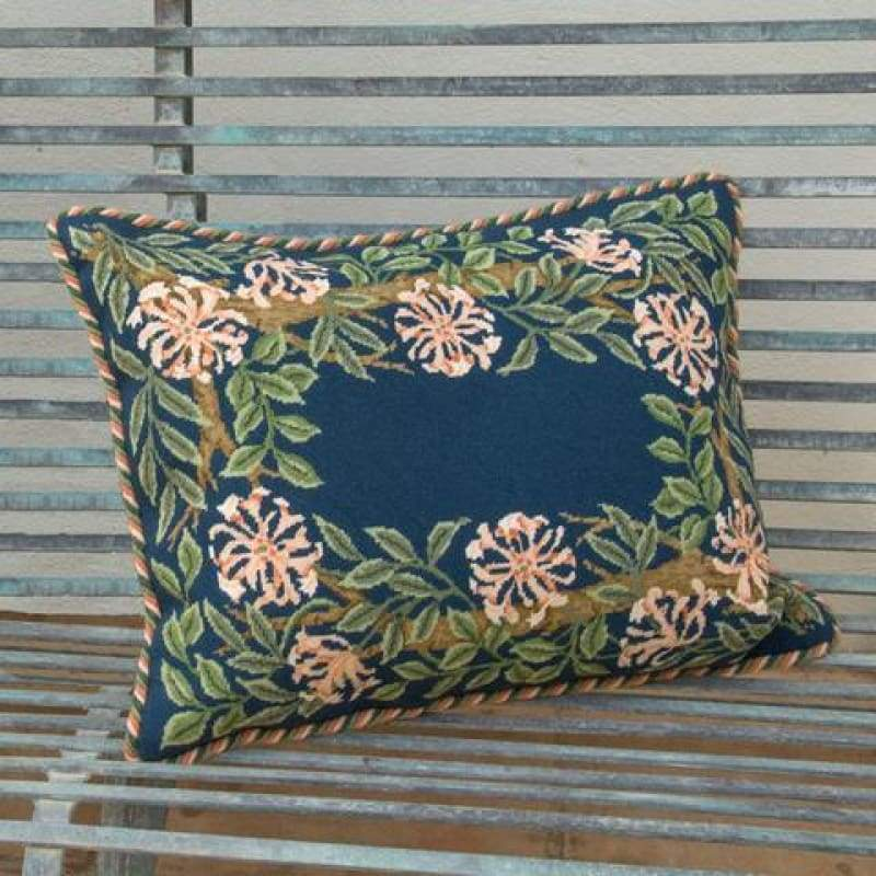 Honeysuckle Border (Blue Background) - Tapestry And Needlepoint