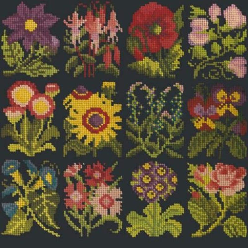 Cottage Garden Favourites (Dark Blue Background) - Tapestry And Needlepoint