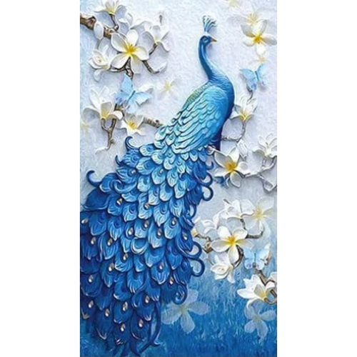 Full Drill - 5D DIY Diamond Painting Kits Beautiful Blue Delicate Peacock Full Drill - 5D Diy Rhinestone  VM1367
