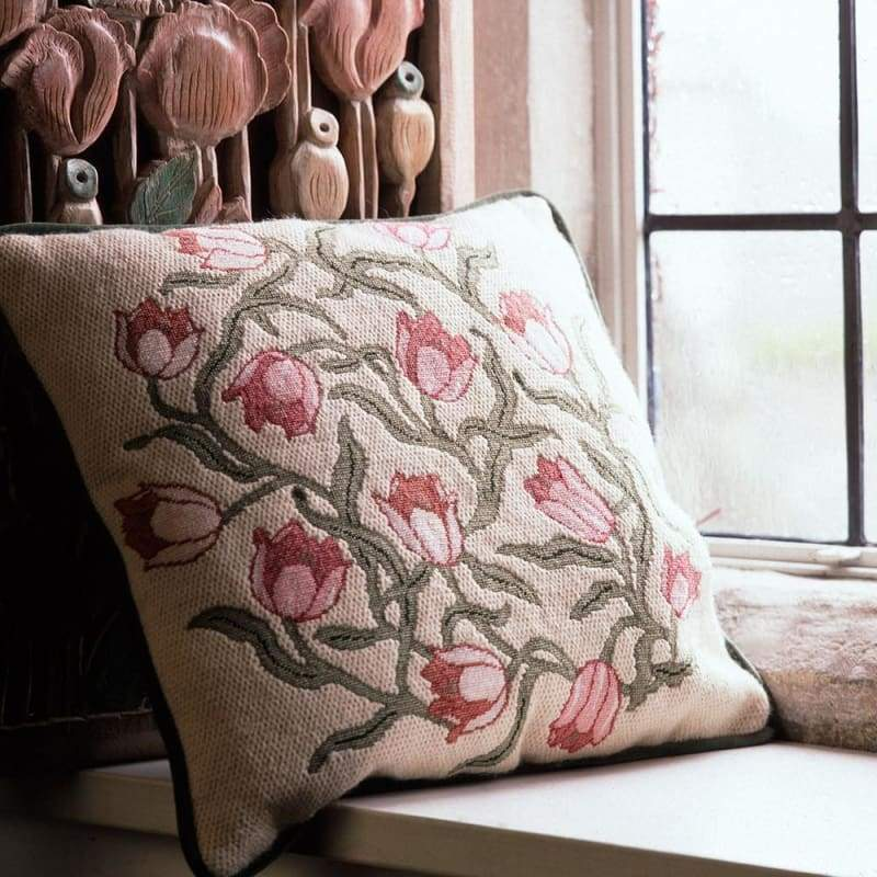 Tulips (Pink On Ivory Background) - Tapestry And Needlepoint