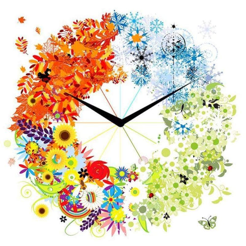 5D DIY Diamond Painting Cartoon Flower Clock Rhinestone Mosaic - Z0