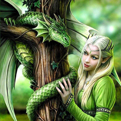 5D DIY Diamond Painting Princess & Dragon Embroidery Cross Stitch - c