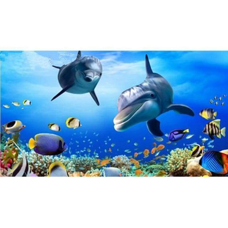 Full Drill - 5D DIY Diamond Painting Kits Sea World Dolphins - NEEDLEWORK KITS