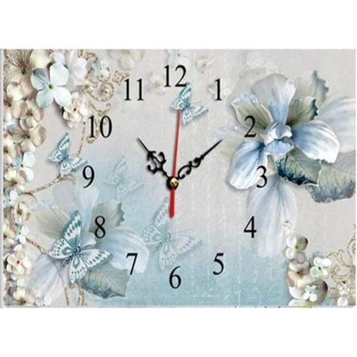 5D DIY Diamond Painting Kits Beautiful Flower Butterfly And Clock - 4