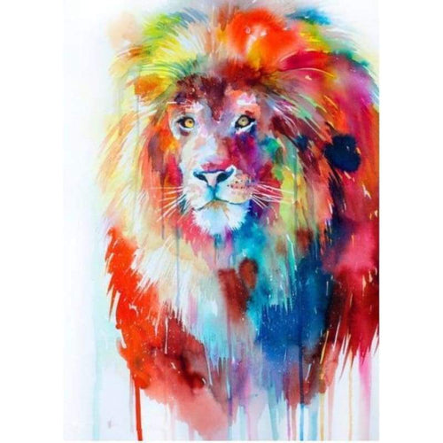 5D DIY Diamond Painting Kits Colorful Abstract Lion - 3