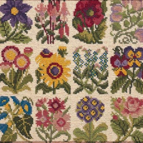 Cottage Garden Favourites (Cream Background) - Tapestry And Needlepoint