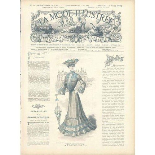 Vintage Print Lady 4 - Embroidery Patterns