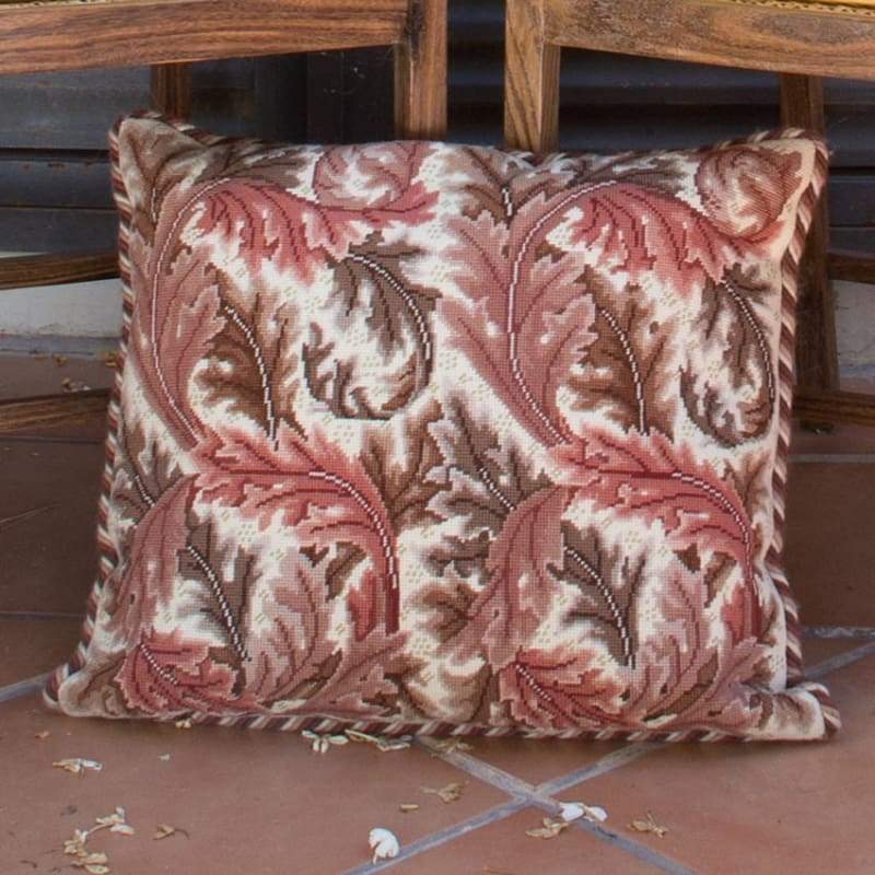 Acanthus Leaves (Red On Ivory Background) - Tapestry And Needlepoint