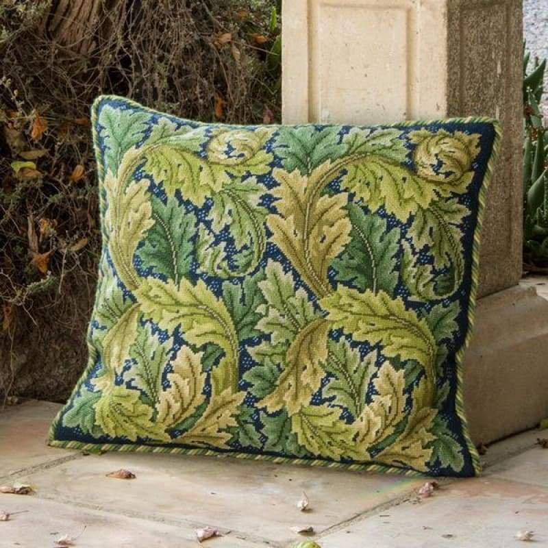 Acanthus Leaves (Green On Blue Background) - Tapestry And Needlepoint