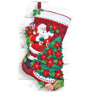Santa Poinsetta Tree Felt Stocking - NEEDLEWORK KITS