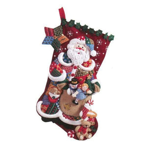 Patchwork Santa Felt Stocking - NEEDLEWORK KITS