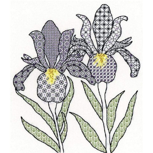 Blackwork Irises - NEEDLEWORK KITS