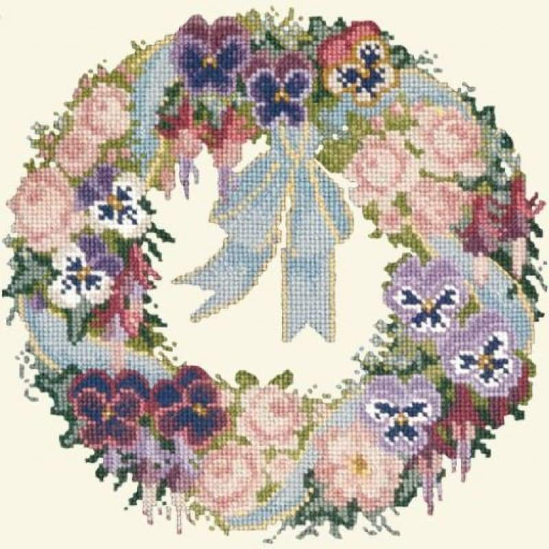 A Garland Of Pansies (Cream Background) - Tapestry And Needlepoint