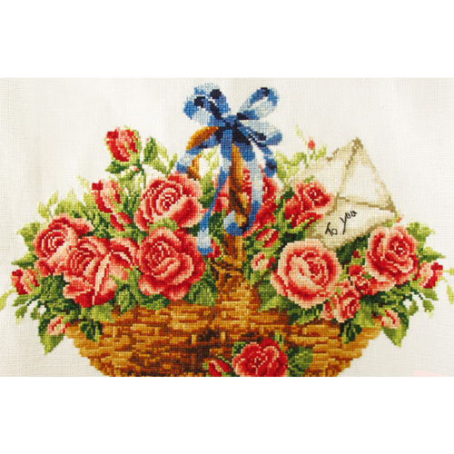Basket Of Roses - Stamped Cross Stitch Kits