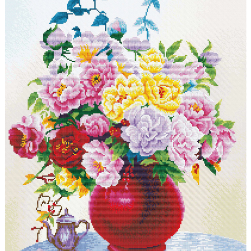 Cabbage Roses In A Vase - Stamped Cross Stitch Kits