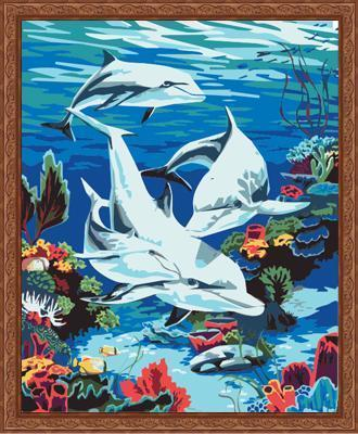 Dolphin Diy Paint By Numbers Kits ZXE137 - NEEDLEWORK KITS