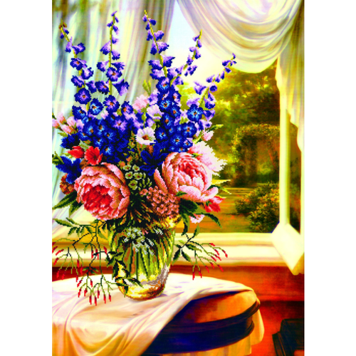 Floral Vase By The Window - Stamped Cross Stitch Kits