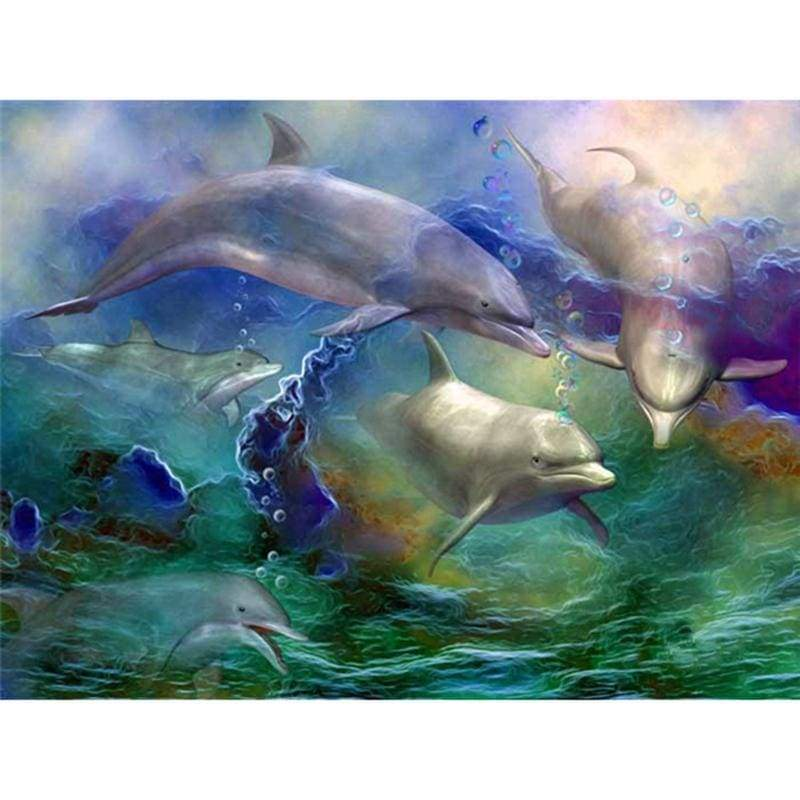 Dolphin Diy Paint By Numbers Kits VM90141 - NEEDLEWORK KITS