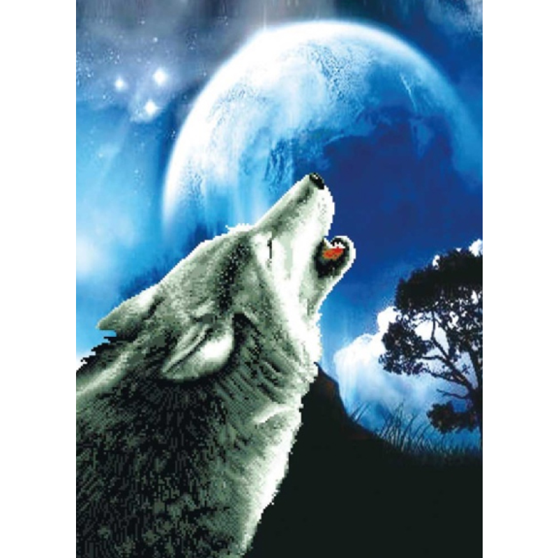 Howling Wolf - Stamped Cross Stitch Kits