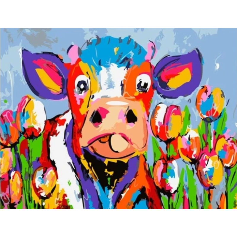 Colorful Cow Diy Paint By Numbers Kits PBN95521 - NEEDLEWORK KITS