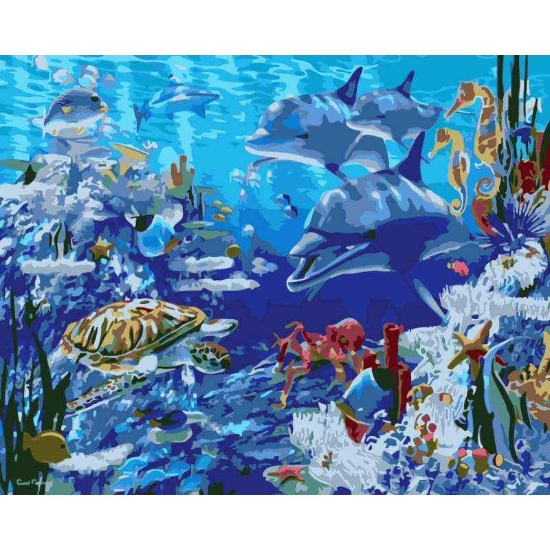 Dolphin Diy Paint By Numbers Kits WM-1579 - NEEDLEWORK KITS