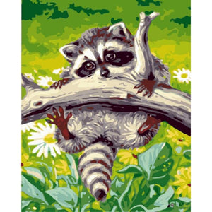 Raccoon Diy Paint By Numbers Kits WM-357 - NEEDLEWORK KITS
