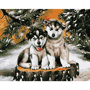 Snow Dog Diy Paint By Numbers Kits WM-663 - NEEDLEWORK KITS