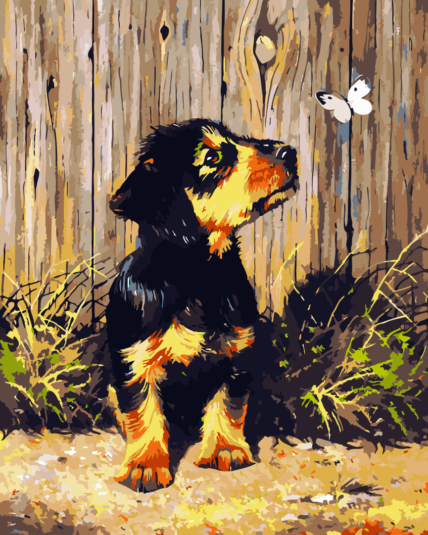 Butterfly Dog Diy Paint By Numbers Kits WM-741 - NEEDLEWORK KITS