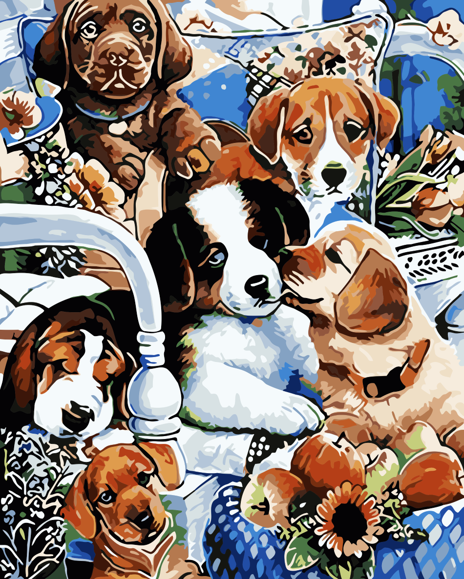 Dog Diy Paint By Numbers Kits WM-888 - NEEDLEWORK KITS