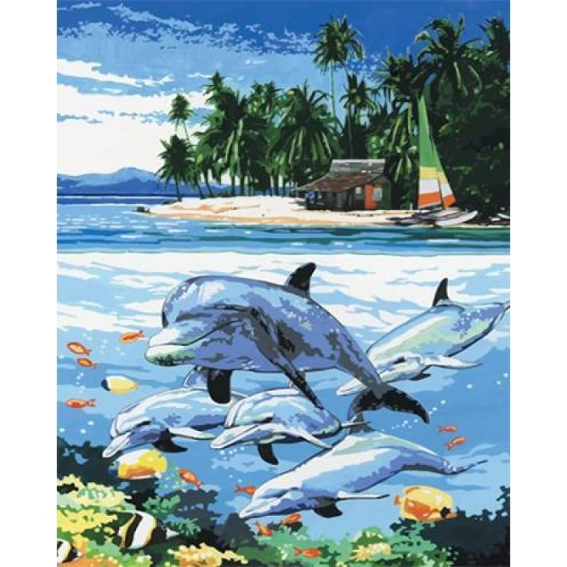 Dolphin Diy Paint By Numbers Kits ZXZ-088 - NEEDLEWORK KITS