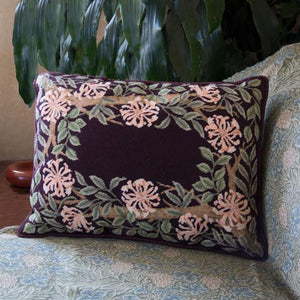 Honeysuckle Border (Maroon Background) - Tapestry And Needlepoint