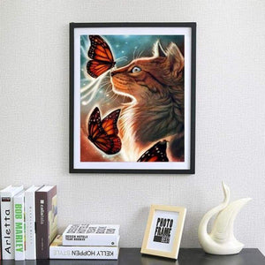 5D DIY Diamond Painting Kits Cartoon Dream Cat And Butterfly - 3