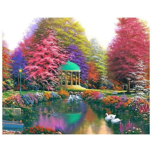 5D DIY Diamond Painting Kits Autumn Pretty Colorful Cottage