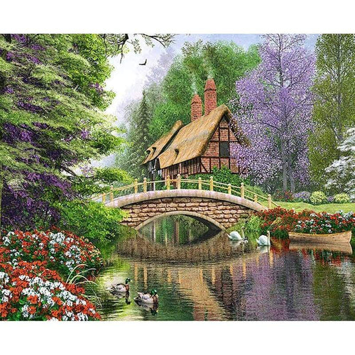 5D DIY Diamond Painting Kits Beautiful Bridge Cottage Scenery - Z2