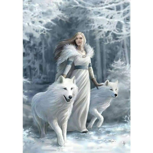 Full Drill - 5D DIY Diamond Painting Kits Winter Beauty And Animal Wolf - NEEDLEWORK KITS