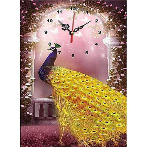 5D DIY Diamond Painting Kits Bedazzled Special Colorful Peacock Clock - 5