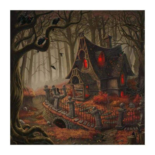 5D DIY Diamond Painting Kits Cartoon Halloween Cottage