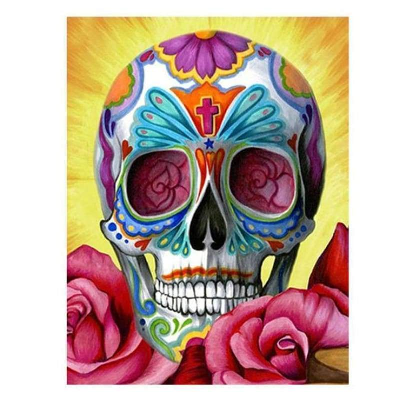 Full Drill - 5D DIY Diamond Painting Kits Colorful Flower Skull - NEEDLEWORK KITS